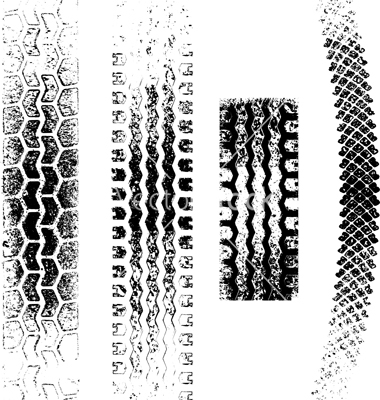 A collection of 4 Grunge tire tracks, negative and positive